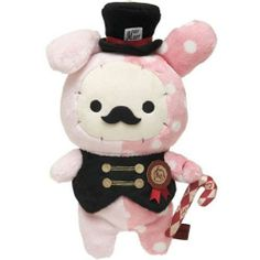 pink Sentimental Circus rabbit with moustache plushie