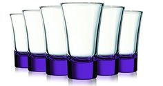Purple Evase Cordial Glasses With Beautiful Colored Accent- 2 Oz. Set Of 6. Additional Vibrant Colors Available, 2015 Amazon Top Rated Cordial & Liqueur Glasses #Kitchen