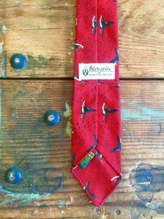 Vintage Red Skinny Tie Geese Pattern Richard's by #menswear #mensfashion #mensaccessories #vintagestyle #dope #vintagefashion  flickaochpojke