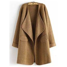 SheIn(sheinside) Khaki Long Sleeve Peplum Trims Casual Coat ($25) ❤ liked on Polyvore featuring outerwear, coats, khaki, brown coat, peplum coat, long peplum coat, long brown coat and long sleeve coat