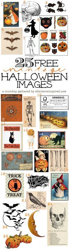 {Ella Claire}: 25 FREE Fabulous Vintage Halloween Images~ a roundup! Table Halloween, Soirée Halloween, Vintage Halloween Images, Halloween Projects, Halloween Cards, Holidays Halloween, Halloween Treats, Vintage Images, Halloween Clothes