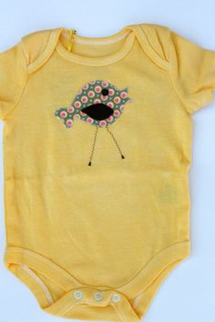 Hand Dyed Baby Onesie with Birdie Applique Size by ZaaBerry, $11.00