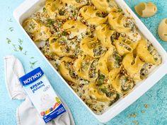 Κοχύλια γεμιστά με γεύση σπανακόπιτα Cauliflower, Shrimp, Pasta, Meat, Vegetables, Recipes, Food, Cauliflowers, Essen