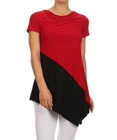 Another great find on #zulily! Red & Black Color Block Asymmetrical Top #zulilyfinds