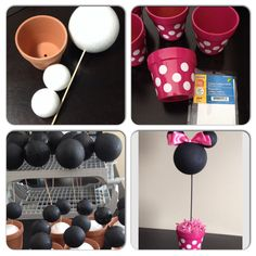Minnie Mouse center pieces for a little girls birthday party. All supplies bought from dollar store except ribbon and pink spray paint for pots. Styrofoam balls can be painted with any acrylic paint. Uses as many coats of paint as necessary for quality finish.