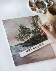Expressive landscape painting of a moody, pink-hued beach scene with palm trees by Kirsten Jenna Haviland Beach Scenes, Mixed Media Art, Palm Trees, Landscape Paintings, Pink, Instagram, Palm Plants, Mixed Media, Landscape