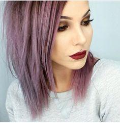 Grey purple hair, long bob, dramatic makeup, smokey eye, deep red lip