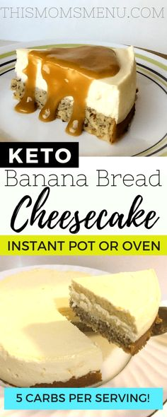 This banana bread bottom cheesecake is such a decadent dessert that you wont believe it has less then 5 net carbs per slice! This banana bread bottom cheesecake is such a decadent dessert that you wont believe it has less then 5 net carbs per slice! Low Carb Sweets, Low Carb Desserts, Low Carb Recipes, Easy Recipes, Diet Recipes, Recipies, Carb Free Deserts, Keto Desert Recipes, Diabetes Recipes