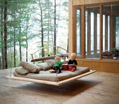 This looks so comfortable! Barnwood Hanging Bed