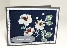 Thank You jai by AnniePanda - Cards and Paper Crafts at Splitcoaststampers Midnight Garden, Alcohol Markers, White Ink, Petunias, Paper Size, Homemade Cards, White Flowers, Christmas Cards