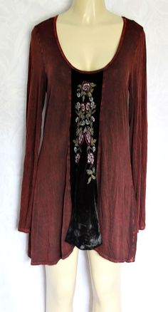 T party Top Blouse Tunic Burgundy Red Black Velvet Floral Long Sleeve L Large  #TParty #Blouse #any
