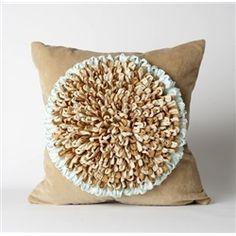 Sunflower Pillow In Blue Mist /Camel