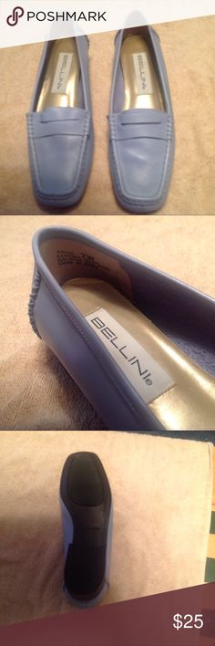 Bellini powder blue women's loafers Comfortable, soft, powder blue women's loafers. Blue jeans will stand out when you wear these fun, non-traditional loafers. Great condition. 1 inch heel. Size 7W. Bellini Shoes Flats & Loafers