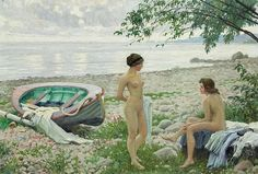 Paul Gustave Fischer - On the beach (1916)
