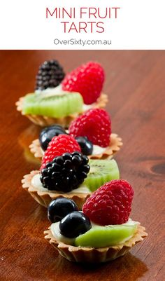 Mini Fruit Tarts Recipe – use store-bought pastry or make your own for these tasty little treats. Perfect for your next tea party. Mini Fruit Tarts Recipe – use Wine Recipes, Dessert Recipes, Fruit Tart Recipes, My Dessert, Dessert Table, Mini Desserts, Tea Party Desserts, Tea Party Recipes, Tea Party Foods