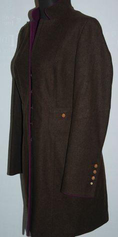 ARISTOCRATIC HABSBURG FROCK WOOL BROWN COAT MACS KLARISSA HOOKS 14 L AUSTRIA