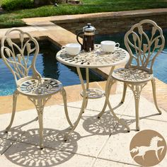 @Overstock - Christopher Knight Home Nassau Sand Bistro Set - Enjoy the morning paper out on the patio with this classic outdoor bistro set. Constructed from powder-coated aluminum, this sturdy three-piece set features a delightful tulip design that adds beauty and elegance to your outdoor space.   http://www.overstock.com/Home-Garden/Christopher-Knight-Home-Nassau-Sand-Bistro-Set/7901136/product.html?CID=214117 $140.39