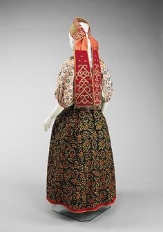 Ensemble  Date: third quarter 17th–19th century Culture: Russian   Medium: linen, cotton, wool, pigment, metal, silk, glass, mother-of-pearl