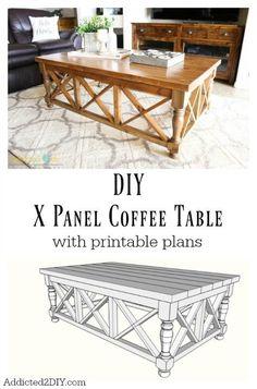 DIY X Panel Coffee Table with printable plans