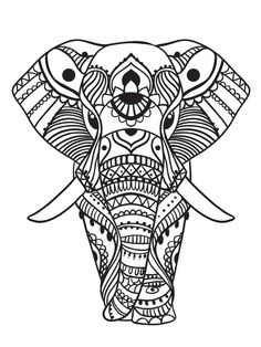 Elephant Abstract Doodle Zentangle Paisley Coloring pages
