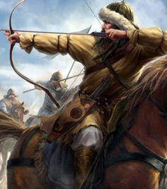 Mongol horse archer in battle Genghis Khan, Medieval Knight, Medieval Fantasy, Medieval Archer, Character Portraits, Character Art, Eurasian Steppe, Fantasy Warrior, Horse Art