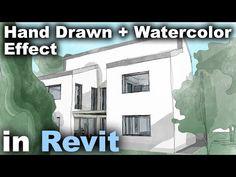 Hand Drawn + Watercolor Effect in Revit Tutorial Sketch Up Architecture, Revit Architecture, Architecture Student, Architecture Portfolio, Learn Autocad, Revit Family, Interior Design Classes, Student Problems, Watercolor Effects