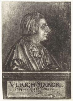 Johann Friedrich Leonard | Portret van Ulrich Starck, Johann Friedrich Leonard, 1668 | De patriciër uit Neurenberg Ulrich Starck, in profiel.