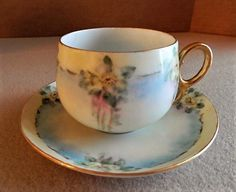 """Home Studio Hand Painted Porcelain """"Wild Roses"""" Pattern Tea Cup & Saucer"""