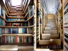 ' London-based Levitate Architects dreamed up a staggered stair case cozily inhabited by the renters' impressive book collection--a magically literate ascension to the lofted sleeping area above.'