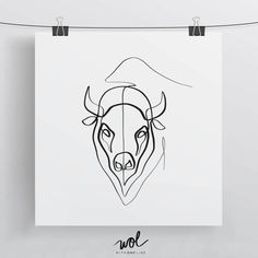 One Line Bison Portrait  8x8 Limited Edition Art by WithOneLine