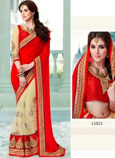 Red And Cream Georgette Soft Net Half N Half Saree