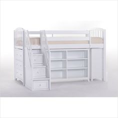 NE Kids School House White Storage Junior Loft Bed with Stairs - On Sale Now! | The Simple Stores