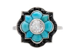 Color Glam - Diamond Turquoise Onyx Ring - The Three Graces