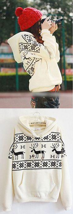 Women's Hooded Fawn Print Long Sleeve Hoodie