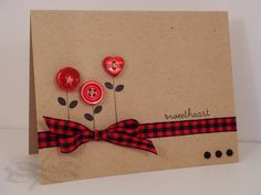Another cute idea for using my bin o' buttons scraps of ribbon - homemade cards!