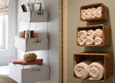 Bathroom Towels in Baskets - Great for those bathrooms that could use a little more storage!