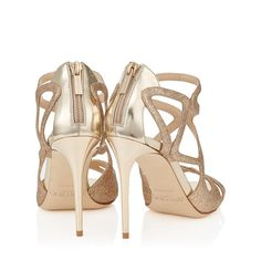 The Jimmy Choo sand fine glitter fabric LESLIE sandals in champagne mirror leather