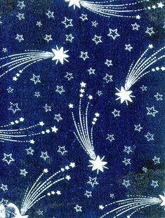 ¤ Textile design of shooting stars, 'Etoiles filantes' French, c.1880-1900 (roller-printed cotton)