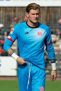 """Keeper Loris Karius from Mainz. German, 6'2"""", June 22, 1993 (23) wearing #1."""