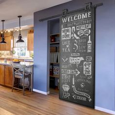 Colonial Elegance Flush Wood Bistro Barn Door without Installation Hardware Kit Door Size: x - chalkboard Chalkboard Wall Bedroom, Kitchen Chalkboard, Küchen Design, House Design, Creative Design, Restauration Hardware, Deco Restaurant, Barn Door Designs, Glass Barn Doors