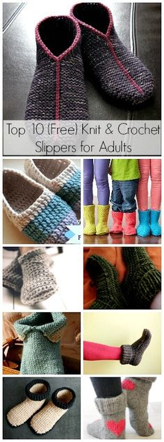Top 10 (FREE) Knit & Crochet Slipper for Adults | ShehlaGrr. A collection of 5 knitted and 5 crocheted free slipper patterns for any skill level!