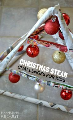 Christmas STEAM Challenges for Kids - Build a Christmas tree using newspaper and a stapler