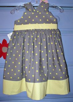 Flower Girl dress Yellow and Grey