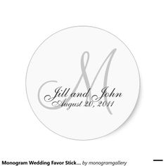Monogram Wedding Favor Sticker
