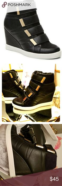 NEW!!! ALDO Black leather platform sneakers Brand new! Aldo black leather platform sneaker boots. Side zipper and velcro straps with gold trim. White rubber sole.Very comfortable. Hits just above ankle. Pet free, smoke free home! Will not ship with box...too big. Aldo Shoes Ankle Boots & Booties