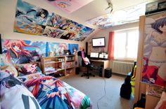 ♡ OTAKU PRIDE ♡ decorating in nerdy anime style~~ anime merchandise - room decor - posters - bedspread - figures - computer - geek decorating - kawaii