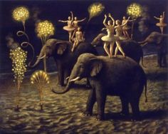 Painting by Ilya Zomb -- elephants and dancers