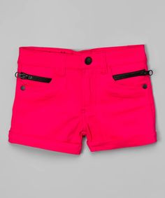 Look at this Fuchsia Contrast-Zip Shorts - Girls on #zulily today!