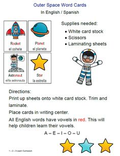 I have added a Outer Space English and Spanish Cards to 1 - 2 - 3 Learn Curriculum. These are located under the Outer Space link located on the 1 - 2 - 3 Learn Curriculum Web site. Thank you! Jean