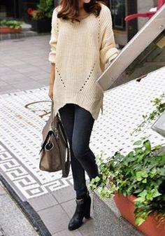 Asymmetric Hem Side Slits Sweater